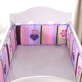 Flower and Heart Printed Purple 4 Baby Crib Bumpers