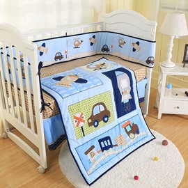 Cartoon Car and Rocket Printed 4-Piece Crib Bedding Sets