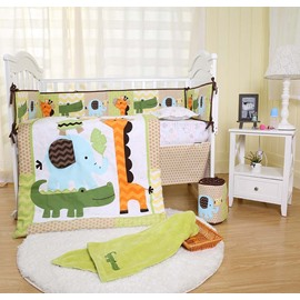 Cartoon Crocodile Giraffe Animal Printed 6-Piece Baby Nursery Crib Bedding Sets