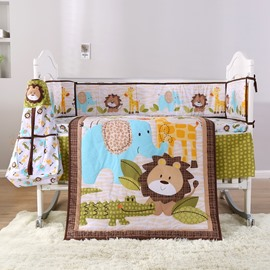 Cartoon Lion Animal Printed 6-Piece Baby Nursery Crib Bedding Sets