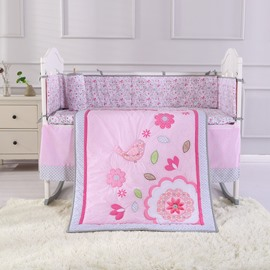 Bird and Flower Printed Pink 4-Piece Baby Nursery Crib Bedding Set