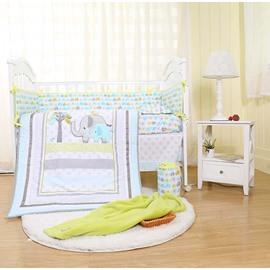 Cartoon Elephant and Tree Printed 5-Piece Crib Bedding Sets