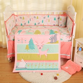 Cartoon Deer Animal Pink Printed 5-Piece Crib Bedding Sets