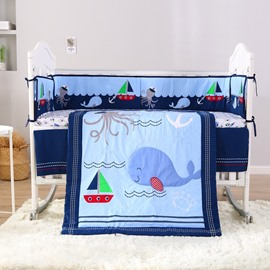 Cartoon Dolphin and Octopus Printed 4-Piece Crib Bedding Sets