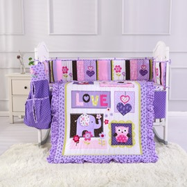 Cartoon Elephant and Owl Printed Purple 6-Piece Crib Bedding Sets