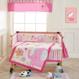 Elephant and Flower Printed Pink 6-Piece Baby Nursery Crib Bedding Sets