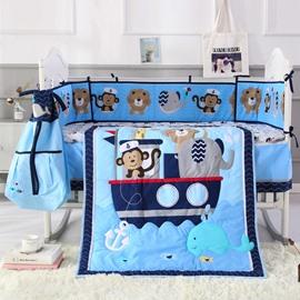 Cartoon Money and Lion Printed Blue 6-Piece Baby Nursery Crib Bedding Sets