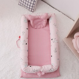 Multifunctional  Double Yarn Cotton Flamingo Printed Baby Bionic Bed