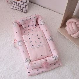 Anti-pressure Multifunctional Double Yarn Cotton Flamingo Printed Baby Bionic Crib