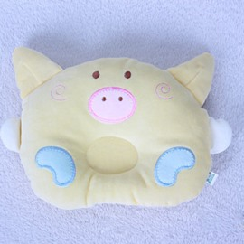 Prevent Flat Head Pig Face Shape Pure Color Baby Pillow