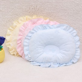 Round Shape Prevent Flat Head Cotton Pure Color Baby Pillow