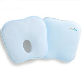 Ergonomic Prevent Flat Head Memory Foam Filled Pure Color Baby Pillow