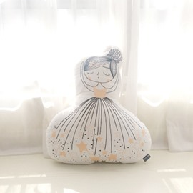 Long Haired Girl Shape Plush White Baby Throw Pillow