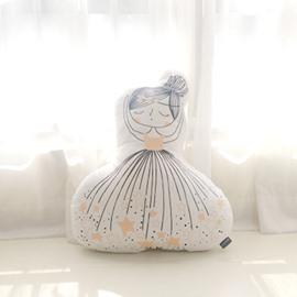Long Haired Girl Shape Plush White Baby Throw Pillow