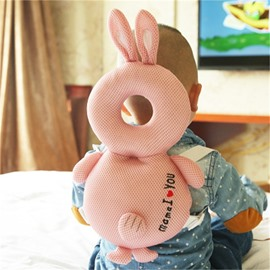 Rabbit Buckle Polyester and PP Cotton 1-Piece Pink Anti-Tumbling Toddlers Pillow