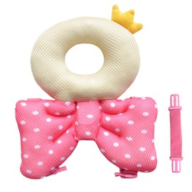 Bowknot Crown Buckle Polyester and PP Cotton 1-Piece Pink Anti-Tumbling Toddlers Pillow