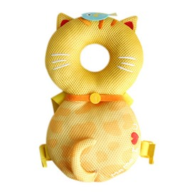 Cat Pattern Buckle Polyester and PP Cotton 1-Piece Yellow Anti-Tumbling Toddlers Pillow