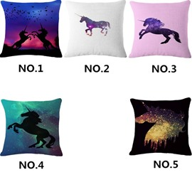 Abstract Unicorn Pattern Cotton Linen Blend Baby Square Throw Pillow