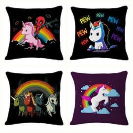Rainbow Pew Unicorn Pattern Cotton Linen Blend Baby Square Throw Pillow