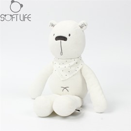 White Bear With Scarf Soft Plush Baby Sleep/comforting Pillow Toy