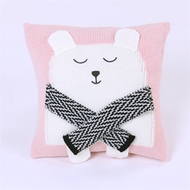3 Color 13.8*13.8in Lovely Bear Knit Acrylic Fibers Kids Soft Throw Pillow