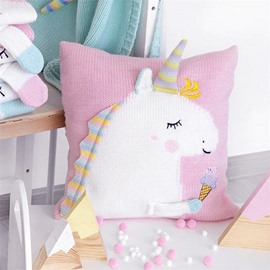 4 Color Knit Acrylic Fibers Funny Kids Unicorn Soft Throw Pillow