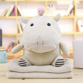 Grey Cute Creative Elephant Soft and Breathable Plush Baby Toy And Blanket