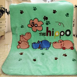 Lovely Green Paws Pattern Go Hippo Print Baby Blanket