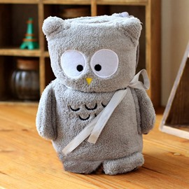 Gray Adorable Owl Shape Warm Flannel Baby Blanket