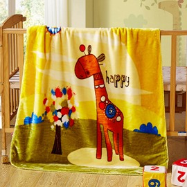 Cute Giraffe Standing Beside Colorful Tree Print Baby Blanket