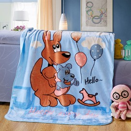Blue Adorable Kangaroo Mother and Baby Print Blanket