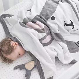 Super Soft Hand Knit Cartoon Fox Pattern Baby Blank Blanket