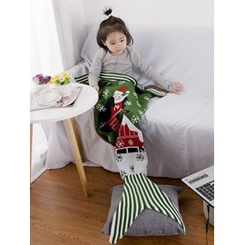 Christmas Style Santa Claus Pattern Green Baby Mermaid Blanket