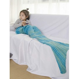 Adorable Solid Light Blue Baby Mermaid Blanket