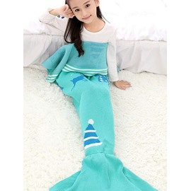 Soft Christmas Hat Pattern Mermaid Tail Design Blanket