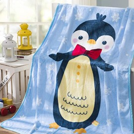 Lovely Softy Penguin Pattern Sky Blue Baby Kids Blanket