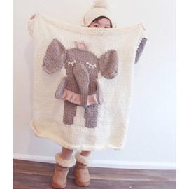 Elephant Pattern Wool Nordic Style White Baby Blanket