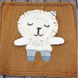 Lion Pattern Wool Nordic Style Brown Baby Blanket