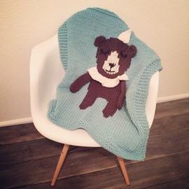Bear Pattern Wool Nordic Style Baby Blanket