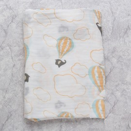 Hot-Air Balloon Printed Bamboo Fiber 2-Layer White Baby Swaddle Blanket