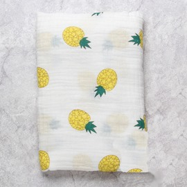 Pineapples Printed Bamboo Fiber 2 layers White Baby Swaddle Blanket