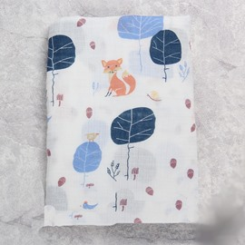 Foxes and Trees Printed Bamboo Fiber 2-Layer White Baby Swaddle Blanket