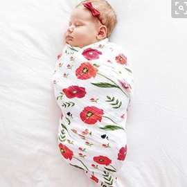 Red Flowers Printed Bamboo Fiber 2-Layer White Baby Swaddle Blanket