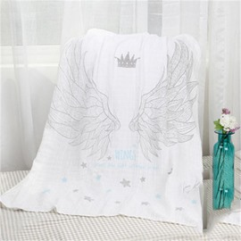 Angle Wings Printed Cotton Nordic Style White Baby Blanket