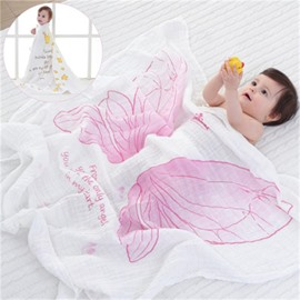 Pink Angle Wings Printed Cotton Nordic Style White Baby Blanket