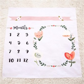Calendar and Plants Printed Cotton Nordic Style White Baby Blanket