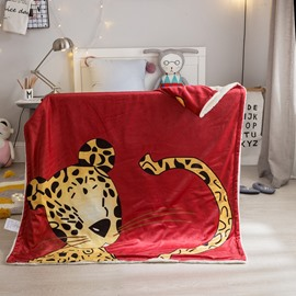 Leopard Printed Polyester Nordic Style Red Baby Blanket