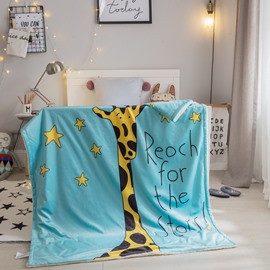 Giraffe Printed Polyester Nordic Style Blue Baby Blanket