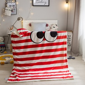 Big Eyes Stripes Printed Polyester Nordic Style Baby Blanket