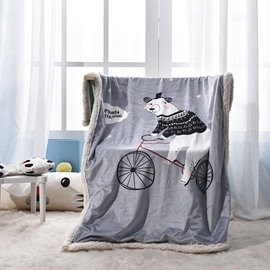 Cycling Bear Printed Polyester Nordic Style Gray Baby Blanket